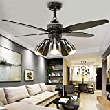 Huston Fan Modern Black Creative 48'' Fandelier Ceiling Fans with 5 Rotatable Light Set
