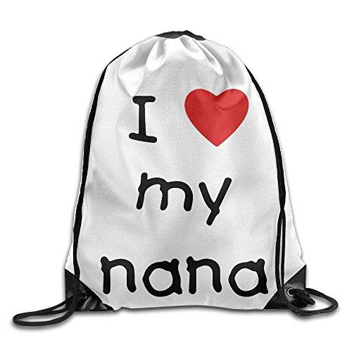 Unisex Drawstring Bags I Love My Nana Canvas Girls Boys Beach Backpack