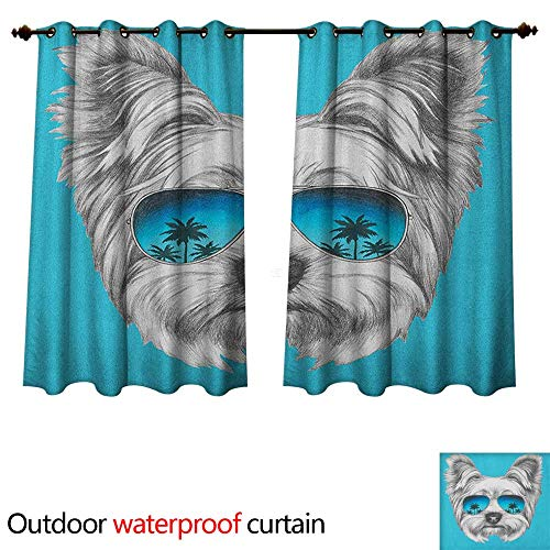 Yorkie Outdoor Curtain for Patio Yorkshire Terrier Portrait with Cool Mirror Sunglasses Hand Drawn Cute Animal Art W108 x L72(274cm x 183cm)