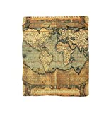 Kisscase Custom Blanket World Map Ancient Old Chart Vintage Reproduction of 16th Century Atlas Print Bedroom Living Room Dorm Sand Brown Slate Blue