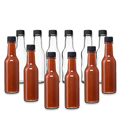 Hot Sauce Woozy Bottles, 5 Oz with Black Caps and Inserts - 12 Pack by PremiumVials ...
