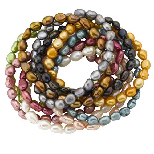 Cultured Pearl Stretch Bracelets, Dyed Vibrant Colors, 7