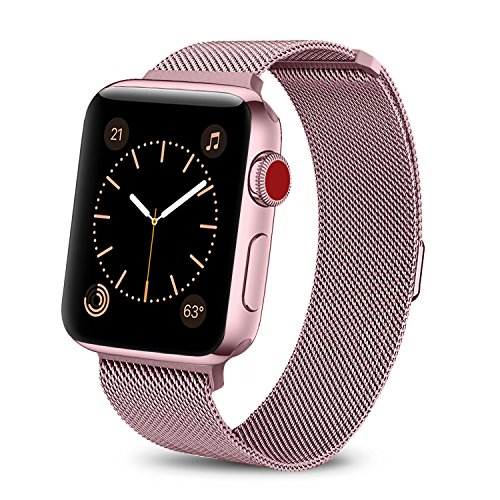 BRG Compatible Apple Watch Band 42mm, Stainless Steel Mesh Milanese Loop Adjustable Magnetic Closure Replacement iWatch Band Compatible Apple Watch Series 3 2 1 (42mm Rose Gold) by BRG (Image #2)