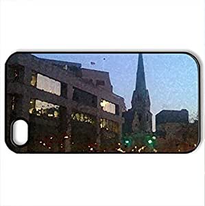 Downtown Indianapolis Christmas 2009 - Case Cover for iPhone 4 and 4s (Skyscrapers Series, Watercolor style, Black)