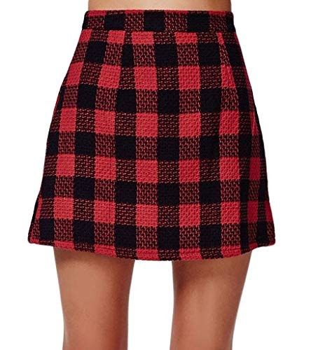 PERSUN Red Short Plaid A-line Mini Skirt (14, Red) (Red Plaid Wool Skirt)