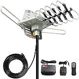 Vansky Outdoor Amplified HD TV Antenna 150 Mile Range, 360 Rotate Digital Antenna Support 2TVs Receive HD UHF/VHF…
