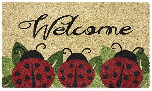 Ben & Jonah Printed Coir Door Mat 18x30-Ladybug Collection, Multicolor