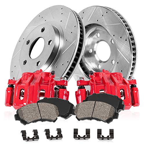 CCK01996 FRONT Powder Coated Red [2] Calipers + [2] Zinc Plated Drilled/Slotted Rotors + Low Dust [4] Ceramic Pads