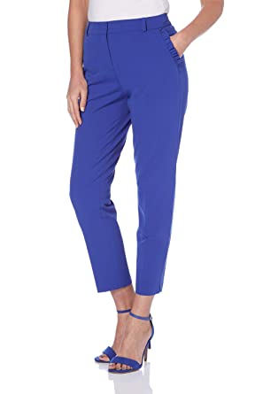 bc82a7d8154a Roman Originals Women Tapered Leg Frill Trousers with Pockets - Ladies  Ankle Grazers Capri Tailored Pants for Work Office Smart with Pockets   Amazon.co.uk  ...