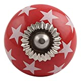 IndianShelf Handmade 8 Piece Ceramic Red Star Decorative Room Drawer Knobs/Cabinet Door Pulls