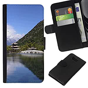 EJOY---La carpeta del tirón la caja de cuero de alta calidad de la PU Caso protector / Samsung ALPHA G850 / --Templo Naturaleza asiática
