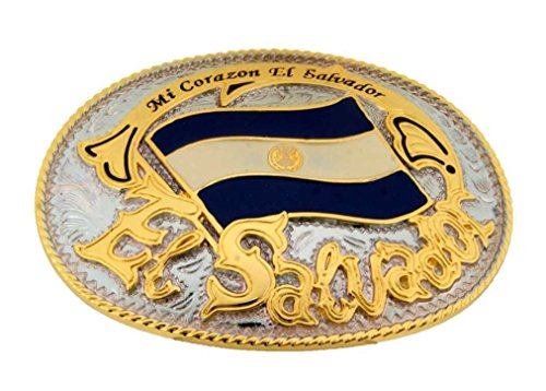 El Salvador Country Flag Belt Buckle Texas Style Gold Silver Metal Unisex ()
