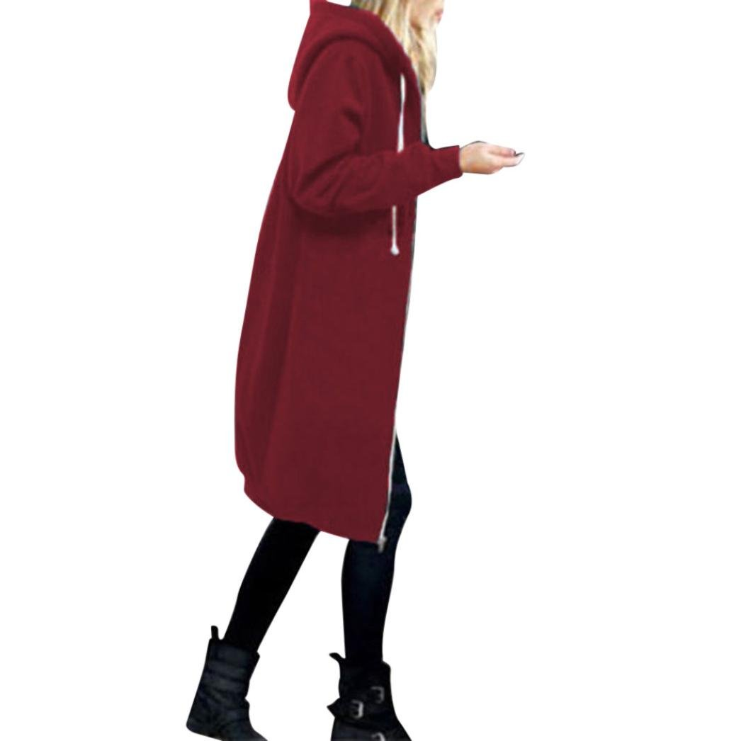 Hemlock Long Cardigan Coat Women, Pockets Sweater Ladies Knitting Cotton Cardigan Jacket Outerwear (XXL, 2-Red)