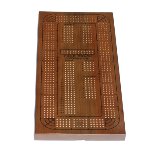 WE Games Classic Cribbage Set - Solid Oak Medium Stained Wood Continuous 4 Track Board with Pegs by WE Games