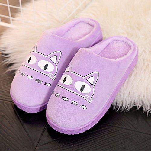 Habuji uomini e donne carino il cotone pantofole inverno caldo con antiscivolo home impermeabile scarpe di cotone, 37-38, B-viola
