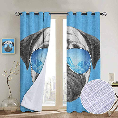 - NUOMANAN Blackout Curtains Pug,Pug Portrait with Mirror Sunglasses Hand Drawn Illustration of Pet Animal Funny, Pearl Blue Black,for Bedroom,Nursery,Living Room 100