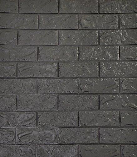 SOOMJ 3D Brick Tile Waterproof Wall Sticker Self-adhesive Panels Decor Decal Wallpaper (10-Pack, Grey Black)