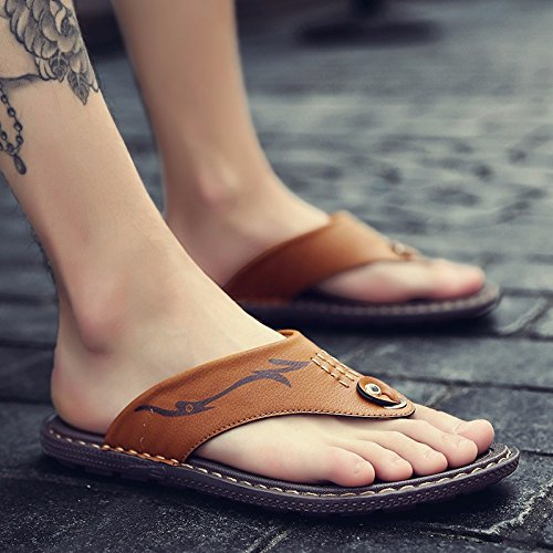 Sandalen Männer Das neue Sommer Männer Schuh Rutschfest Tragbar Dualer Gebrauch Strand Schuh Männer Flip Flops Sandalen Trend ,GelbC,US=10,UK=9.5,EU=44,CN=46