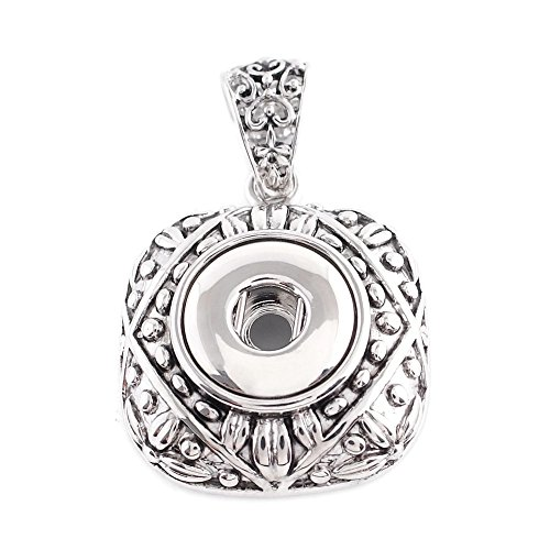 My Prime Gifts Interchangeable Mini 12mm Snap Jewelry Square Antique Pendant by