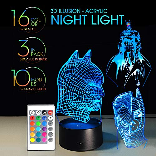Joker Light Batman - 3 IN 1 3D Night Light Remote Control with 7 Colors Display Optical Illusion Nursery Lamp Birthday Gift X'mas Creative Lights Touch Button Batmans and Joker (BATMAN 3IN1)