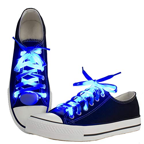 LKDEPO LED Shoelaces Light Up Nylon Shoe Laces with 3 Flashing Modes Lighting the Night - Blue