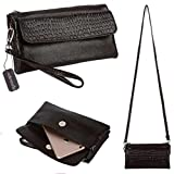 Black Friday Deals Cyber Monday Deals Week-Valentoria Women's Large Capacity Leather Wallet Purse Smartphone Wristlet Clutch with Shoulder Strap (Coffee)