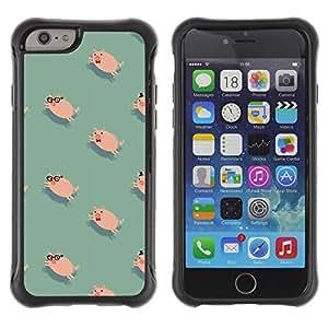 Híbridos estuche rígido plástico de protección con soporte para el Apple iPhone 6 (4.7) - pig cute teal pink animal pet pattern