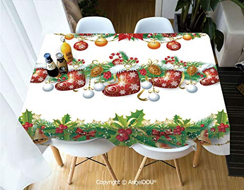 AngelDOU Waterproof Stain Resistant Lightweight Table Cover Traditional Garland Designs with Flowers Socks and Bells Mistletoe Candy for Camping Picnic Rectangular Table Cloth,W55xL82(inch)