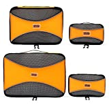 PRO Packing Cubes - 4 Pc Lightweight Travel Packing Cube Set - Organizers and Compression Pouches System for Carry-on Luggage Accessories, Suitcase and Backpacking. Small, Medium & Large (Orange)