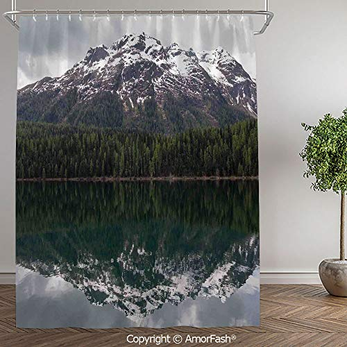 Landscape,Fabric Shower Curtain - Spa,Hotel Luxury,Water Repellent,Decorative Bathroom Curtains,60 x 72 Inch,Lake St. Moritz in Switzerland Upper Engadin Valley Snowy Mountains,Dark Green Light (Best Spa In St Moritz)