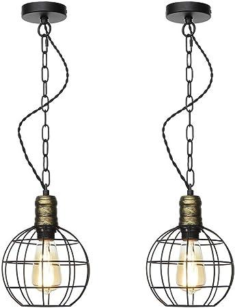 Belief Rebirth 2-Pack de iluminación Retro Jaula Colgante Industrial |Luz Pendiente Granero Granja Metal for la Isla de Cocina |E26 / E27 Base de Hierro Luces Colgantes de Techo Cadena: Amazon.es: Hogar