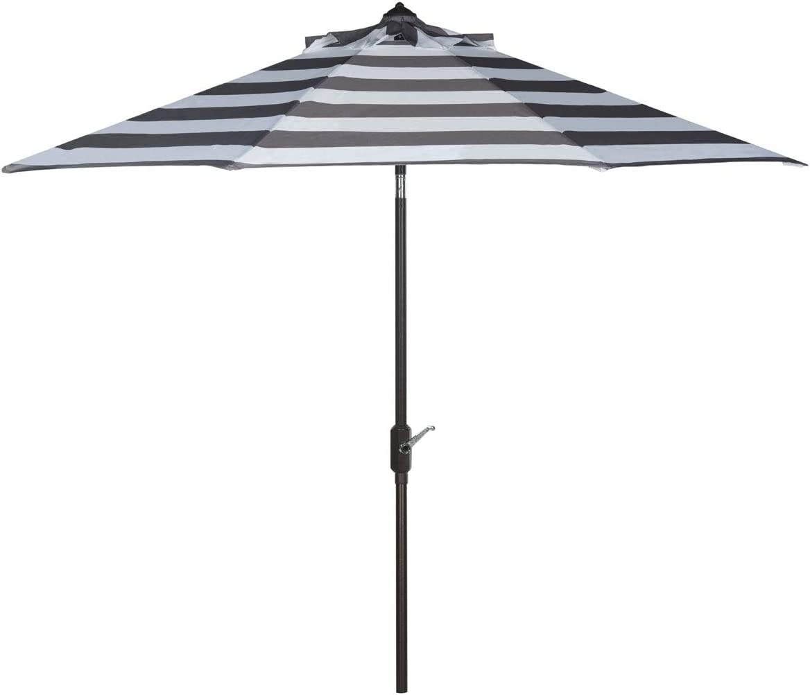 Safavieh PAT8004D Outdoor Collection Iris Fashion Line Auto Tilt Umbrella, 9 , Grey White