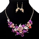 style9 purple - Women Fashion Pendant Crystal Flower Choker Chunky Statement Chain Bib Necklace