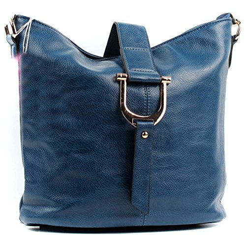 Bucket Navy Leather Style Faux Cross Aossta Shoulder Bag Body Ladies txqzAH1
