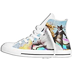 Cat Riding Dragon Unicorn Women & Men High Top Canvas Sneakers Rubber Anti-skid Shoes