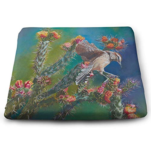 Comfortable Seat Cushion Print Cactus Wren - Memory Foam Filled for Outdoor Patio Furniture Garden Home Office