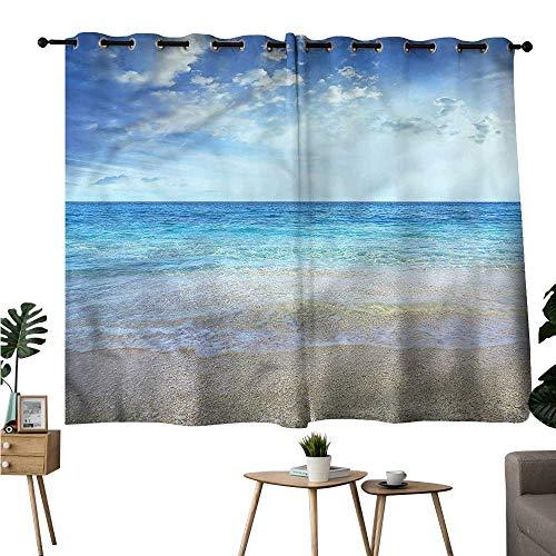 Williasm Sunbeams Isolated Darkening Curtains Grommets Curtain for Bathroom Ocean,Wavy Crystal Sea with Sky Curtains/Panels/Drapes W108 x L72