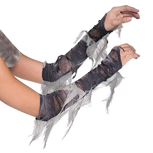 Adults Arm Warmers Zombie Mummy Cleopatra Egyptian Costume Gloves Grey Torn Ghost Bride Halloween Fancy Dress by Fancy Dress (Egyptian Mummy Fancy Dress)