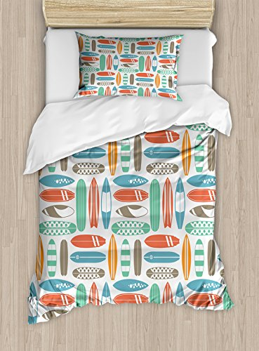 - Ambesonne Surfboard Duvet Cover Set Twin Size, Colorful Surfing Sea Pattern with Summer Travel Illustration in Retro Colors, Decorative 2 Piece Bedding Set with 1 Pillow Sham, Coral Orange