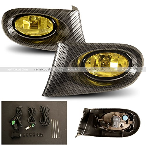 Dc5 Carbon - 02 03 04 Acura RSX DC5 Carbon Looks Yellow Fog Lights Lamp kit