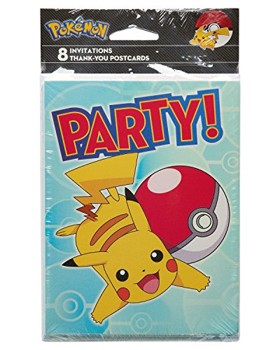 American Greetings Pokémon 8 Count Invite and Thank You Combo Pack (Pokemon Thank You Cards)