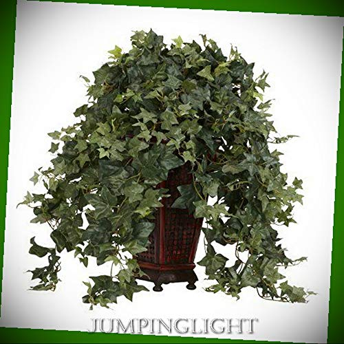 JumpingLight 6702 Vining Puff Ivy with Decorative Vase Silk Plant Artificial Flowers Wedding Party Centerpieces Arrangements Bouquets Supplies
