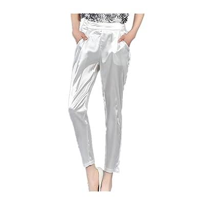 604cd1202cc093 Amazon | レディース パンツ ズボン ボトムス サテン 9分丈 美脚パンツ | ロングパンツ 通販