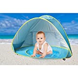 Baby Beach Tent Beach Umbrella, Sunba Youth Pop Up Tent, UV Protection Sun Shelters Baby Pool(Blue)