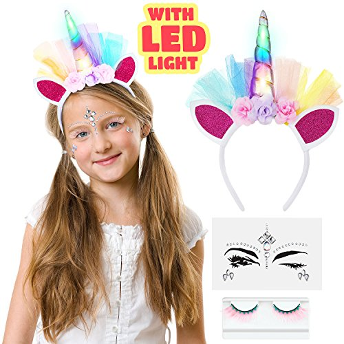 LED Unicorn Headband With Eyelashes And Face Jewelry Set for Toddlers, Children, Teens, Adults For Party. Decorative Floral Headpiece Long Lasting Flashing Lights. Glow In The Dark With On/Off Switch. -