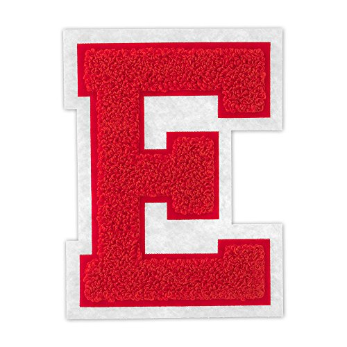 E - Red on White - 4 1/2 Inch Heat Seal/Sew On Chenille Varsity Letter