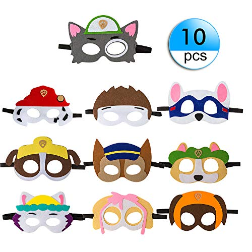 10 Pack Puppy Party Masks for Kids Party Cosplay Felt with Elastic Rope Party Favors Mask for Boys and Girls Birthday Party Supplies(Multicolor) (Cake Topper Mask)