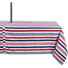 "DII Summer Tablecloth, Spill Proof and Waterproof for Outdoor/Indoor Use with Zipper and Umbrella Hole, Host Backyard BBQs & Family Gatherings - (60x120"" - Seats 10 to 12) 4th of July Patriotic Stripe"