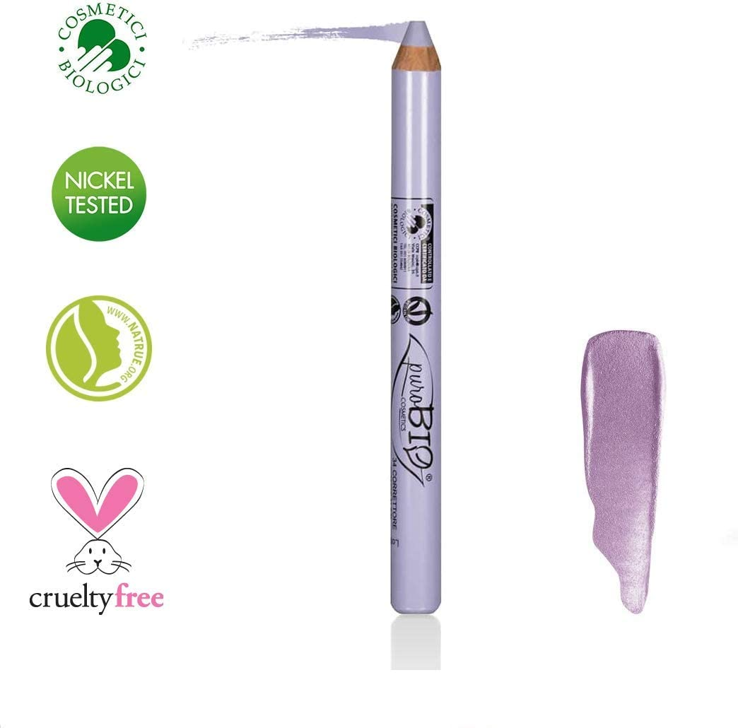 PuroBIO Certified Organic Multitasking Color Corrector Stick LAVANDER to Balance Sallowness.Contains Vitamins, Soy and Apricot Oils. ORGANIC. VEGAN. NICKEL TESTED, MADE IN ITALY