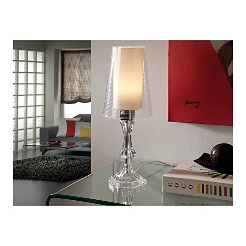 Schuller Spain 563710I4L Traditional Chrome Candle Stick Table Lamp Opal 1 Light Living Room, bed room, Study, Bedroom LED, Clear glass candle stick Table Light | ideas4lighting by Schuller